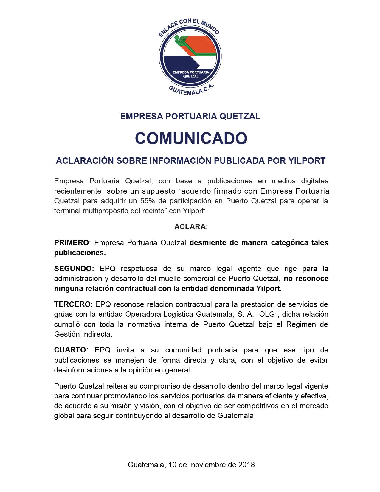 COMUNICADO URGENTE DE EPQ! Aclaración a la comunidad portuaria y opinión pública sobre publicación de Yilport.