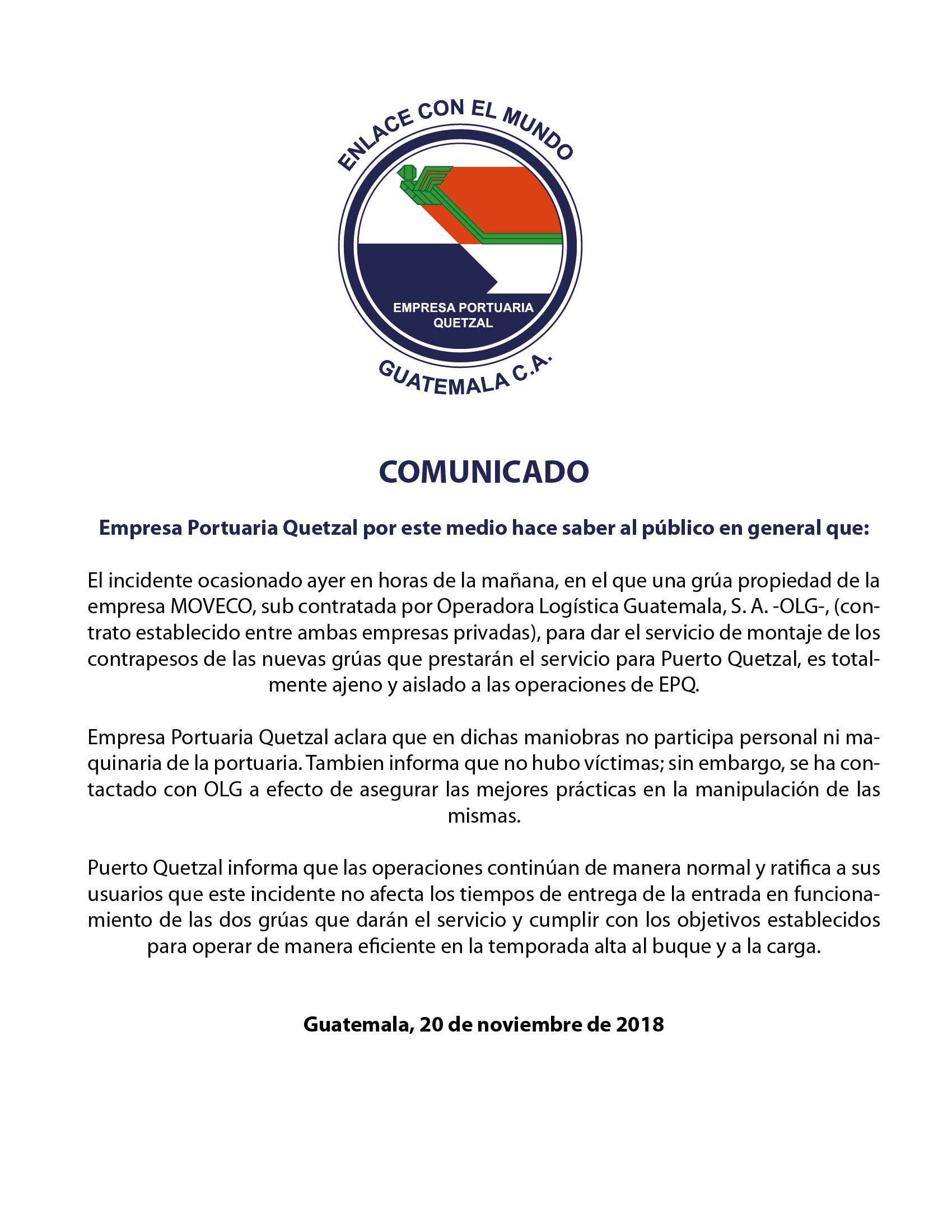 COMUNICADO URGENTE DE EMPRESA PORTUARIA QUETZAL A USUARIOS Y PÚBLICO EN GENERAL.